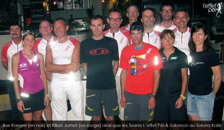 Iker Karrera (en noir) et Kilian Jornet (en rouge) ainsi que les Teams L'effet Péi & Salomon au Soluna Kafé
