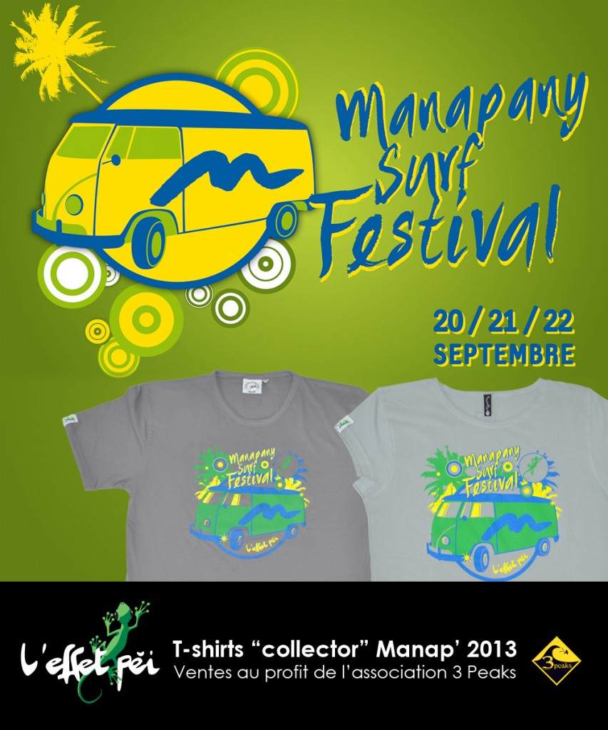 T-shirts Collector Manapany Surf Festival 2013