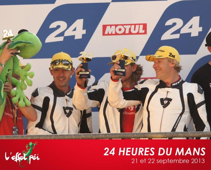 La Team Scuderia 2 Roues sur le podium des 24h du Mans Moto avec le margouillat L''effet Péi