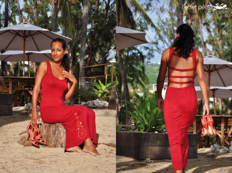 Robe longue Karess Rouge - Dos nu - Réunion Island Beach