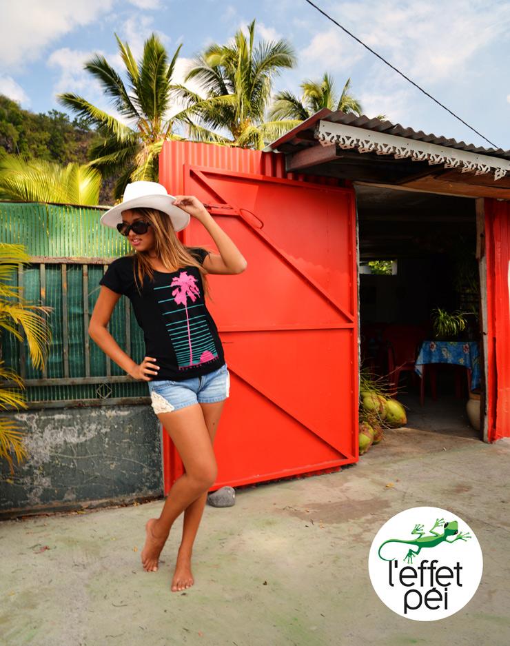 Top Sunset Palmier Femme - Réunion Island