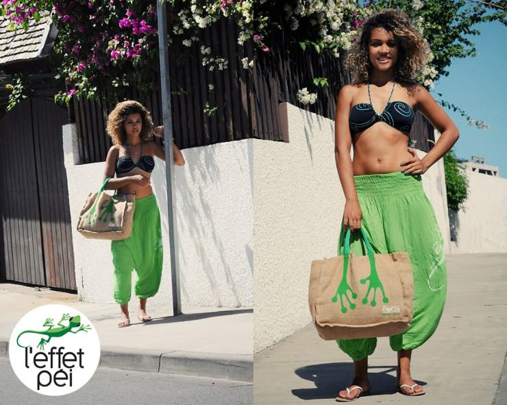 Bikini, sarouel femme et sac pattes de margouillat L'effet Péi - Rue Saint-Leu île de la Réunion