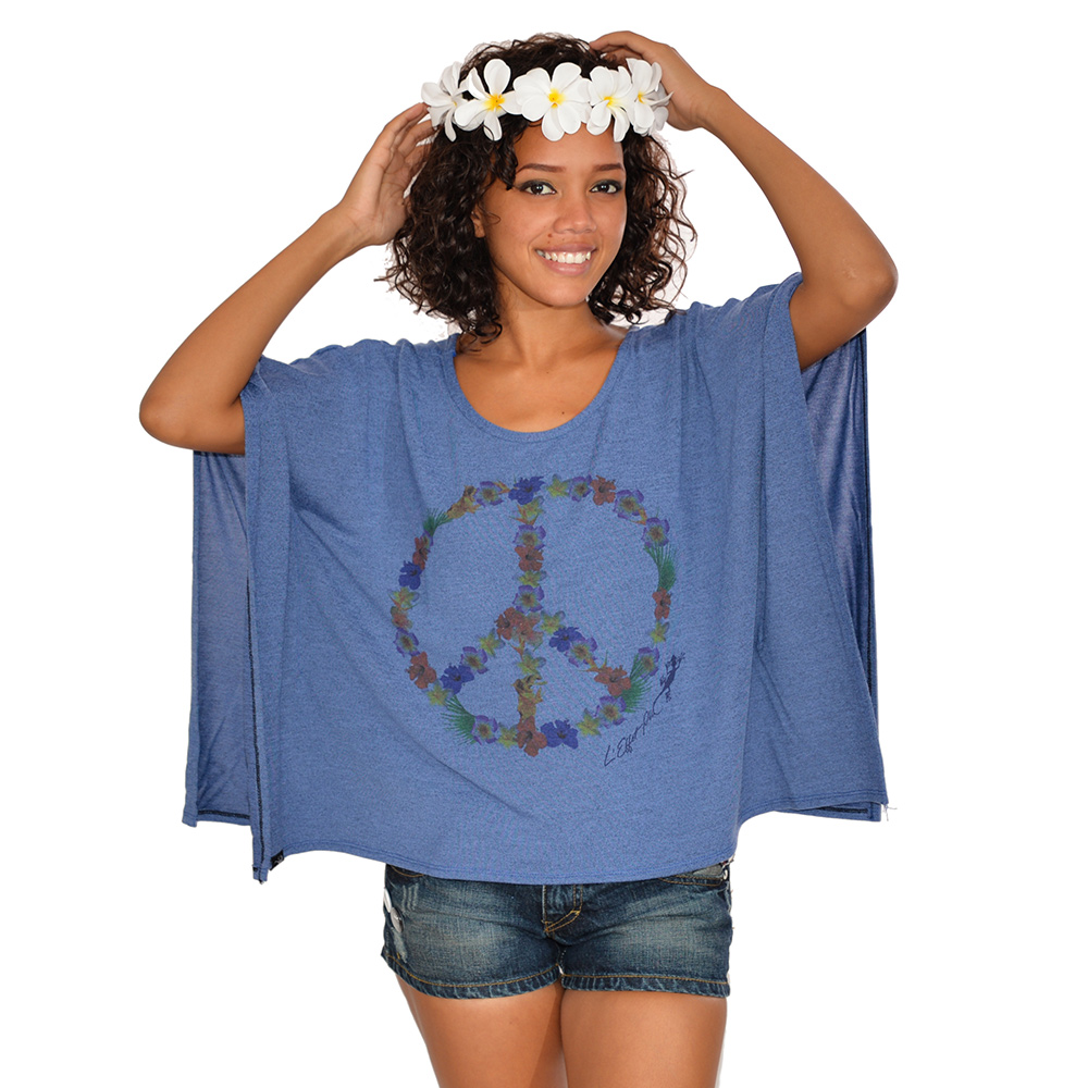 FLower Power - Top femme Japo : Peace & Love - Fleurs