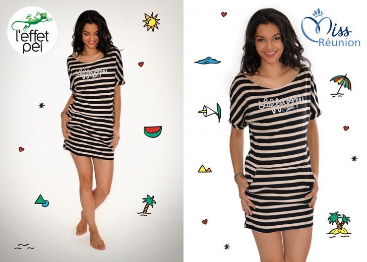 Azuima Issa Miss Réunion 2015 nous présente la robe marinière Olive