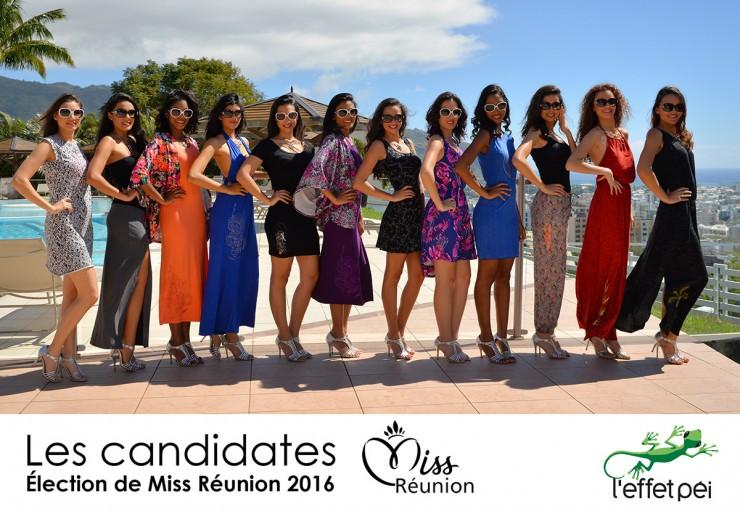 Les candidates à l'élection de Miss Réunion en tenue de ville