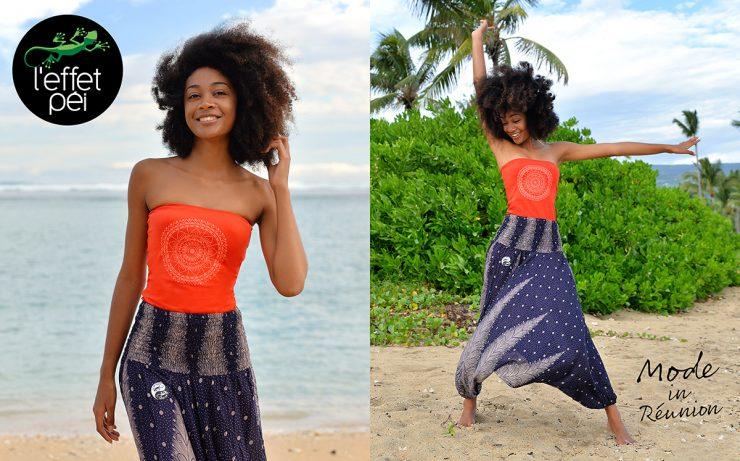 Sarouel femme 2be et Top bando Mandala - Plage de Trou d'Eau île de la Réunion